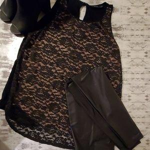 Sleeveless Black Lace Tunic by Apt 9